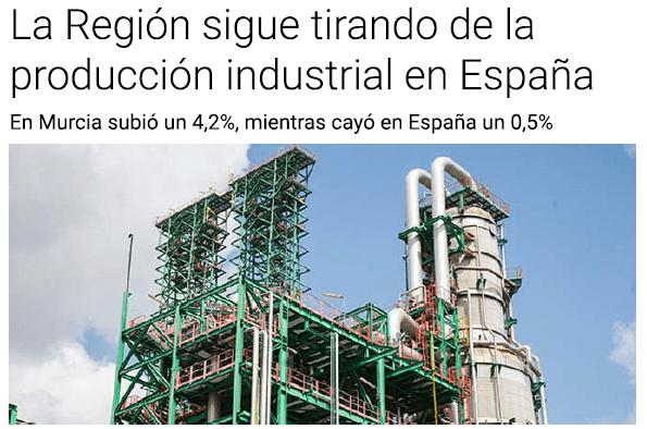 La Región sigue tirando de la producción industrial en España